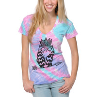 A-Lab Girls Tribe Owl Pink & Blue Tie Dye V-Neck Tee Shirt at Zumiez : PDP