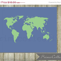 Nursery Print / world map / 8x10 inch / wall art / blue and green / for baby boy room decor / map print / travel nursery