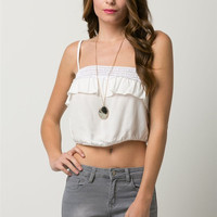 (amw) Bubble white crop top with crochet detail