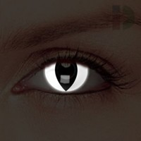 iD Lenses White Cat Eye Glow In The Dark Contacts