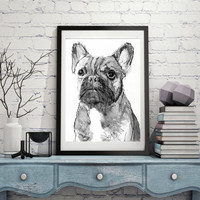 French Bulldog Painting art Print from Original Artist Signed Frenchie Dog Art french bulldog black and white choice of sizes
