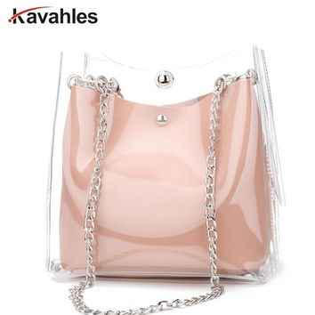 Fashion Women Transparent Bag Clear PVC Small Tote Messenger Bags Laser Holographic Shoulder Bag Female Lady Sac A Main LW-50