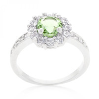 Bella Birthstone Engagement Ring In Green (size: 08)