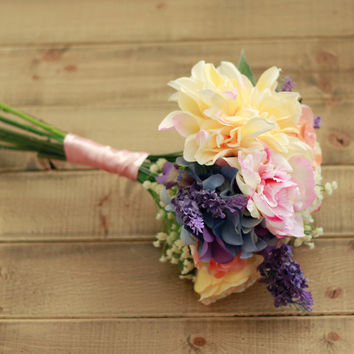 Spring Pastel Silk Wedding Bouquet with Apricot, Lavender, and Yellow Dahlia, Peony, and Roses