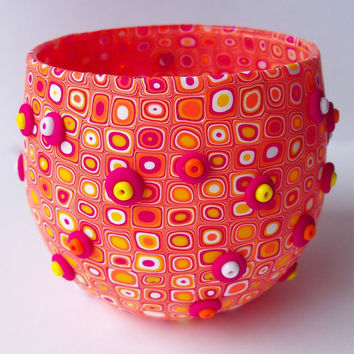 Candle Holder, polymer clay, fuchsia yellow orange white