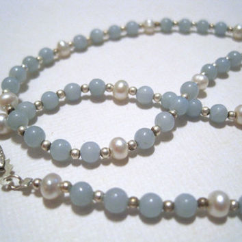 Aventurine, Pearl and Sterling Jewelry Set