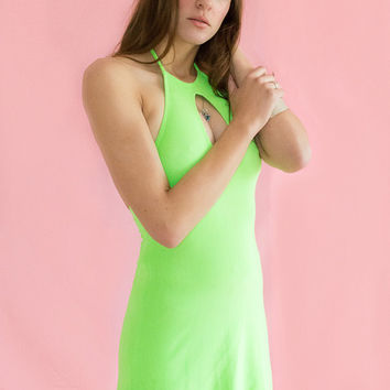 Vintage Mini Rave Dress Clubwear Lime Slime Neon Green Halter Keyhole Stretch Ribbed XS S M 80s 90s
