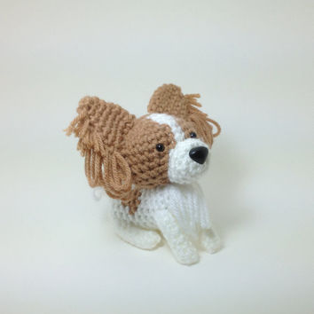 Papillon Stuffed animal Amigurumi Dog Crochet Puppy Plush / Made to Order
