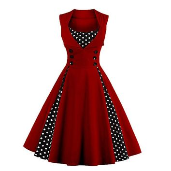 Going out Vintage A Line Polka Dot Wine Dress