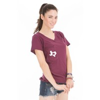 Venley Women's Texas State University Slouch Pocket V-neck T-shirt