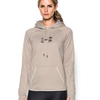 Under Armour Women's Icon Caliber Hoodie, Oatmeal Heather/Maverick Brown, Medium
