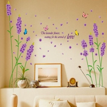 New Lavender Romantic And Warm Wall Stickers Removable DIY Home Decor  purple