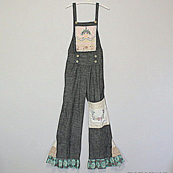 Refashioned Bib Overalls / Hippie Boho Unique Clothing / Vintage Linen Accents / Women's Junior's Fashion Clothing / Size Small / Festival