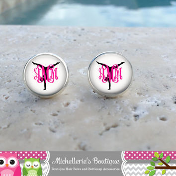 Gymnast Monogram Earrings, Gymnast Jewelry, Gymnast Accessories, Gymnastics, Gifts for Her, Gifts under 10, Gifts for Gymnasts,Personalized