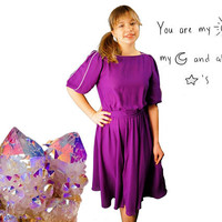 Early 80's Purple Chiffon Midi Skater Dress