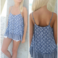 Clearwater Navy Floral Print Ruffle Tank Top