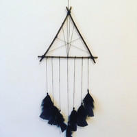 Boho Black Triangle Dreamcatcher, Dream Catcher, Mystic, Black Feathers, Wall Hanging, Home Decor