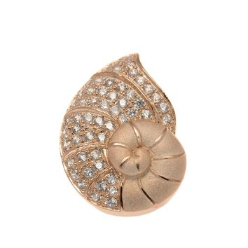 ROSE GOLD ON SOLID 925 STERLING SILVER HAWAIIAN NAUTILUS SHELL SLIDE PENDANT CZ