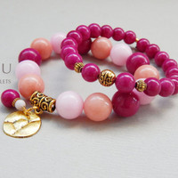 2 PCS Set of two gemstone stretch bracelets Women gemstone bracelet Women stretch bracelet Pink gemstone bracelet Boho bracelet set