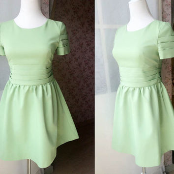 Fashion Mint Green Mini Dress. Fitted and flare dress. Petite Dress. Short Formal dress. Short sleeve Formal dress. Guest Dress