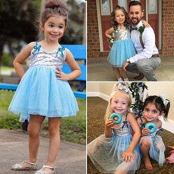 New Fashion Summer Dress Sequins Princess Dress Baby Girls Sleeveless Back Heart Hollow Out Cute  Party Dresses
