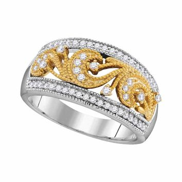 10kt Two-tone Gold Womens Round Diamond 2-tone Filigree Band Ring 1/3 Cttw