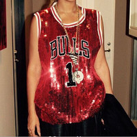 FASHION SEQUINED RED JERSEYS T-SHIRT