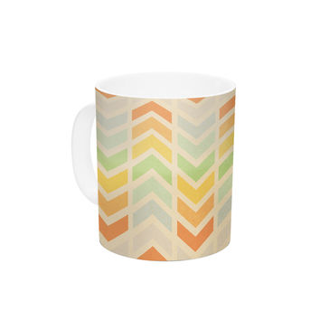 "Skye Zambrana ""Infinity"" Tan Chevron Ceramic Coffee Mug"