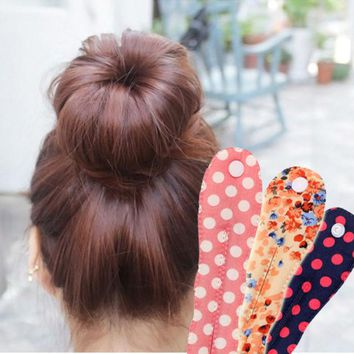 LMFUS4 2015 new arrival fashion Korea  button fabric floral  spot  clips ball head band   Hair tools Hair accessories 12 colors