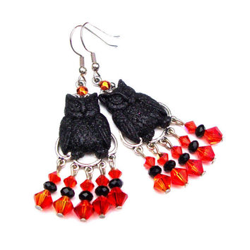 Halloween owl earrings, orange and black crystal chandelier earrings, black glittery owl earrings, fall jewelry, halloween jewelry