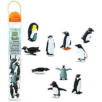 Safari Ltd Penguin TOOB With 10 Fun and Flightless Figurines, Including Gentoo, Humboldt, Chinstrap, Rockhopper, Galapagos, Adelie, Swimming, Sliding, Baby, And Penguin With Baby  Ages 3 And Up: Toys & Games