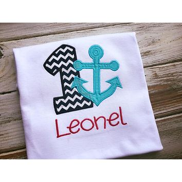 Nautical 1st birthday shirt or Onesuit