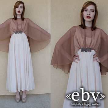 Vintage 70s Sheer Cape Dress Gown S M Cocktail Maxi Dress Sheer Maxi Dress Beaded Cocktail Dress Emma Domb Dress Angel Sleeve Dress