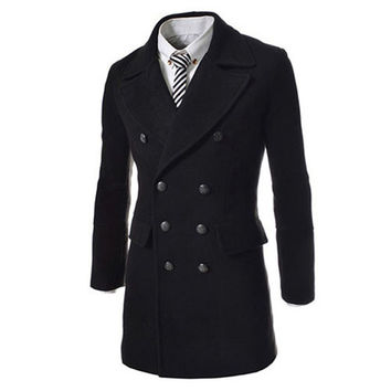 Autumn Winter Double Breasted Coats Long Trench Coat Peacoat Men Overcoat
