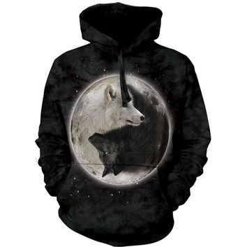 The Mountain Men's  Yin Yang Wolves Hoodie Hooded Sweatshirt Black Rockabilia