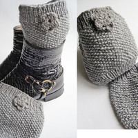 christmas boot cuff for women knee warmer with rose Women's Leg Warmer Knit Leg Warmers knitting gray high boots cuffs unique handmade cuffs