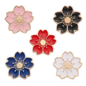 Cherry Blossoms Flower Colorful Brooch Pins Button Pins Denim Jacket Pin Badge For Bags Japanese Style Jewelry Gift For Girls