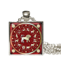 Astrological Sign Pendants- Blue and Red- Choose your Zodiac Sign