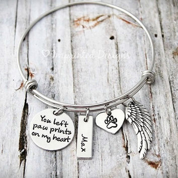 Wire Bracelet - Pet Memorial Bangle - You left paw prints on my heart - Loss Of a Pet - Sympathy Gift - Pet Memorial - Pet Loss - Dog Loss