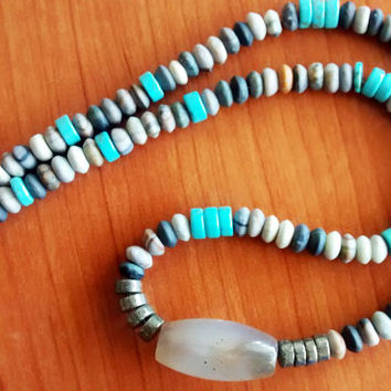 Gem Necklace Agaet Hematite Jasper and Howlite - New Custom Handmade Gemstone Necklace - Tribal Necklace - surfer necklace - Heishi Jewelry