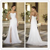 2016 Cheap Women Chiffon Wedding Dresses Sweetheart Vestidos de Noivas Sexy Split Long Summer Beach Bridal Gowns