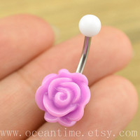 purple rose Belly Button jewelry,rose Navel Jewelry,rose bud belly button ring,girlfriend gift,summer jewelry, rose Belly Button jewelry