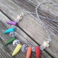 Rainbow Claw Necklace,Tooth Necklace,Fang Necklace, Rainbow Hippie Necklace, Pride Necklace,Turtle Jewelry, Festival Beach sea life jewelry