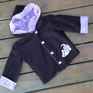 Children's Jacket Hoodie ( Handmade Flannel Lined Brown Fleece Jacket with kitten buttons and Hood ) -  Children's jacket Size 4