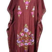 Mogul Womens Maroon Kaftan Floral Embroidery Designer Kashmiri Boho Crinkle Caftan: Amazon.ca: Clothing & Accessories