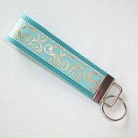 Key FOB / KeyChain / Wristlet - metallic gold mint scrolls - bridesmaid - friend gift - coworker