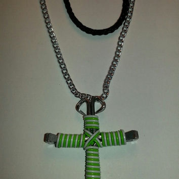 Neon green and white candy cane wire wrapped horseshoe nail cross necklace jewelry