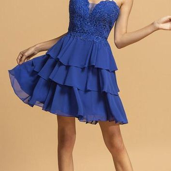 Tiered Homecoming Short Dress Royal Blue with Spaghetti Strap
