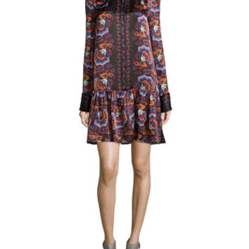 Thakoon Floral-Print Long Sleeve Button-Front Dress