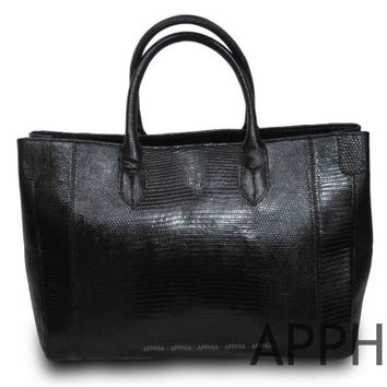 Vivien Genuine Exotic Lizard Leather Handbag in Black Color